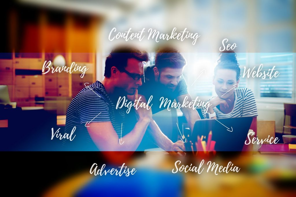 A team of SEO professionals working on website rebranding.
